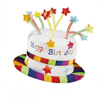 Happy Birthday Party Hat Soft Velvet Novelty Hat Topped with Candles