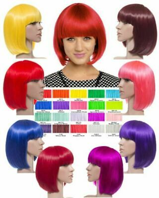 New Ladies Bob Neon Colour Full Wig Short Straight Party Hair Koko Uk