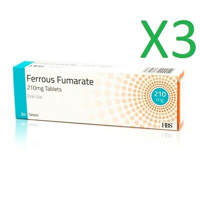 3 x Ferrous Fumarate 210mg 84 Iron Tablets