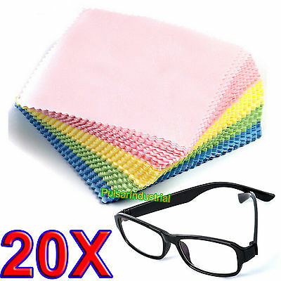 20 x LARGE MICROFIBRE GLASSES CAMERA LENS SPECTACLE MICROFIBER CLEANING CLOTH