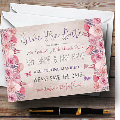 Blush Dusty Pink Lilac Vintage Watercolour Floral Wedding Save The Date Cards