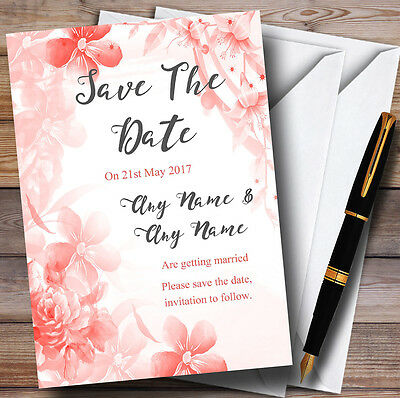 Coral Watercolour Floral Personalised Wedding Save The Date Cards