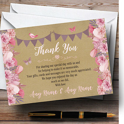 Lilac & Pink Rustic Bunting & Floral Personalised Wedding Thank You Cards