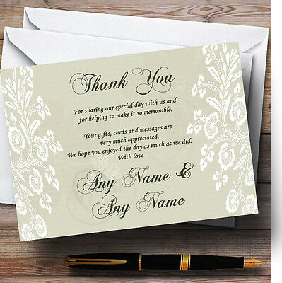 Vintage Lace Sage Green Chic Personalised Wedding Thank You Cards