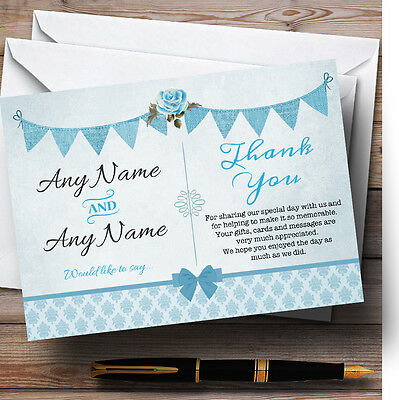 Vintage Rustic Bunting Powder Baby Blue Personalised Wedding Thank You Cards