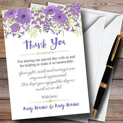 Watercolour Floral Purple Personalised Wedding Thank You Cards