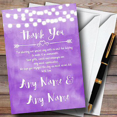 Purple and Lights Watercolour Personalised Wedding Thank You Cards