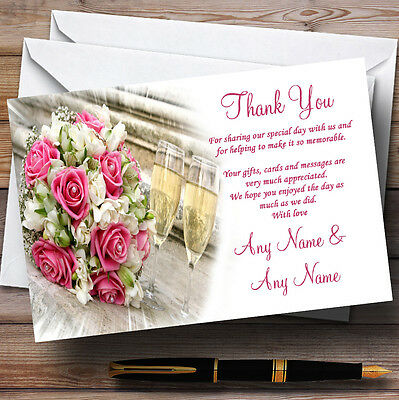 Pink Roses Pearls Champagne Personalised Wedding Thank You Cards