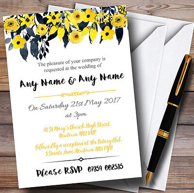 Watercolour Black & Yellow Floral Header Personalised Wedding Invitations