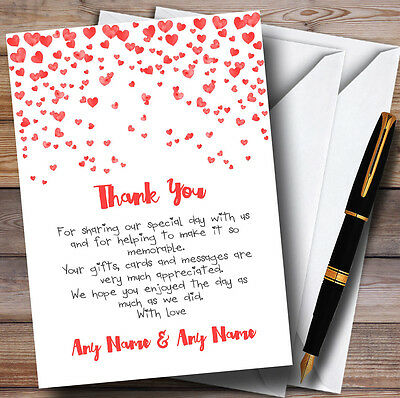 Red Heart Confetti Personalised Wedding Thank You Cards