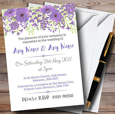 Watercolour Floral Purple Personalised Wedding Invitations