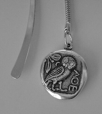 For Percy Jackson Fans, Mark of Athena Bookmark, Athena & Owl Silver Plate