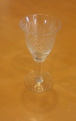 """Vintage Crystal Etched Wine Goblets 4 1/2"""" tall Clear Glass Stemware Set of 5"""