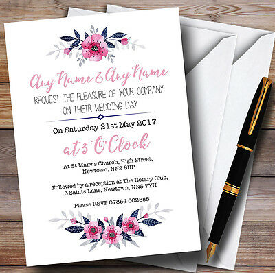 Navy Blue & Pink Subtle Floral Personalised Wedding Invitations