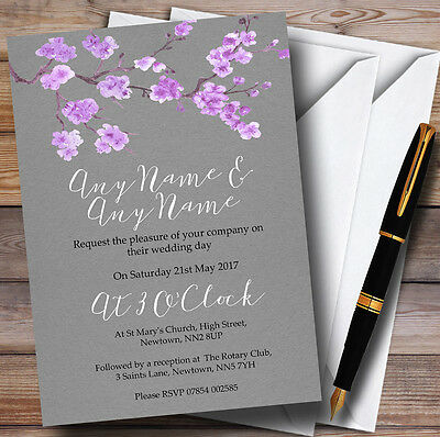 Rustic Vintage Dark Grey & Purple Blossom Personalised Wedding Invitations