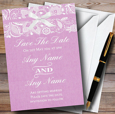 Vintage Dusky Pink Rose Burlap & Lace Personalised Wedding Save The Date Cards