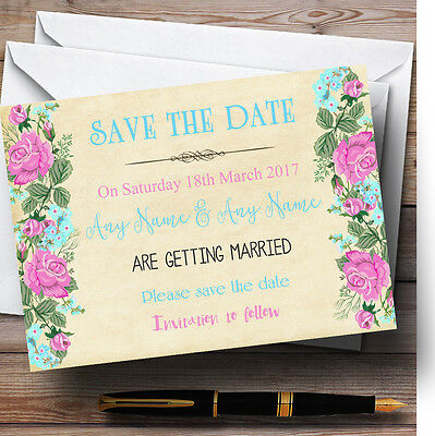 Vintage Pink & Blue Watercolour Personalised Wedding Save The Date Cards