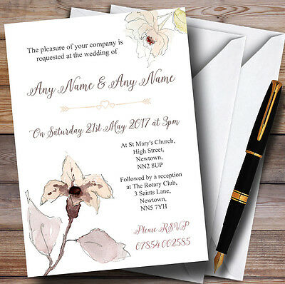 Beautiful Peach Watercolour Flowers Personalised Wedding Invitations
