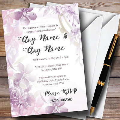 Pale Purple Watercolour Floral Personalised Wedding Invitations