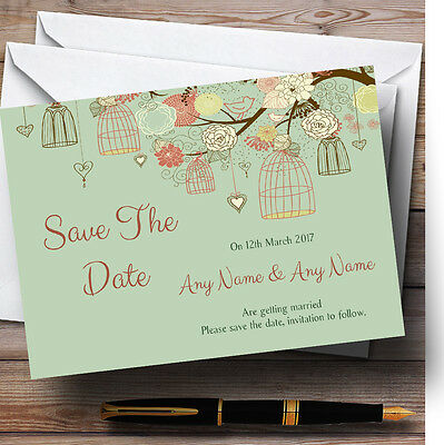 Vintage Shabby Chic Birdcage Green Personalised Wedding Save The Date Cards