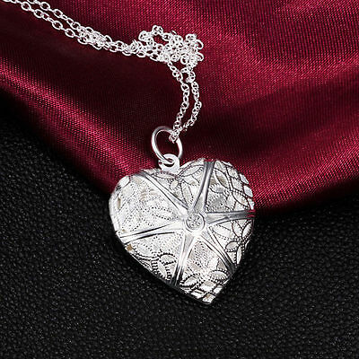 925 Silver Plated Nice Lover Necklace Chain Jewelry Heart Pendant Charm Women