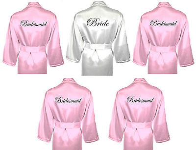 Personalised Wedding Robes Dressing Gowns Multiple Pack in BABY PINK Bridal