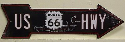 US ROUTE 66 metal sign arrow US HWY with map chicago to las angeles