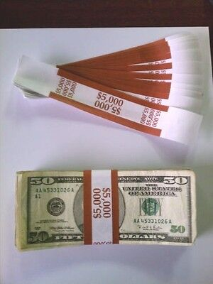 1000 New Self-Sealing Currency Bands - $5000 Denomination - Straps Money Fifty