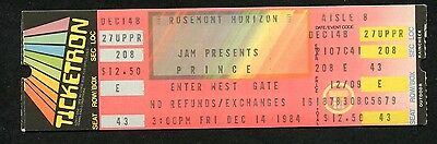 1984 Prince Purple Rain Tour Unused Full Concert Ticket Rosemont When Doves Cry