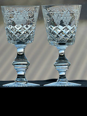 "Royal Brierley Crystal ""grapevine"" Patterns Sherry Glasses Set Of 2"