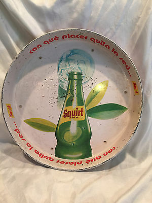 "Vintage 1970's Mexican Squirt Soda 13"" Tin Beverage Serving Tray Made In Mexico"