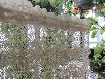 Shabby~Hand Crochet Lace Tassled Cafe Curtain/Valance~Beige/Ecru~Cottage Dream~~