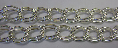 1 Metre Double Twisted Link in Chain Bright Silver 16x12mm Beading & Craft JF635