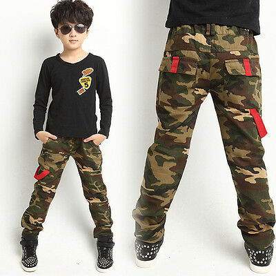 Children Kids' Boys Cosy Toddlers Camouflage Slacks Pants Relaxed Camo Trousers