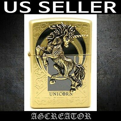 New Japan Korea zippo lighter unicorn gold plated engraved emblem US SELLER