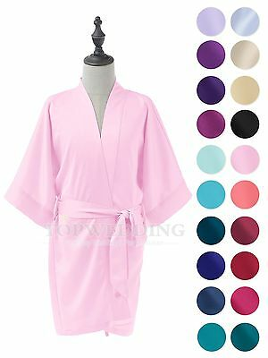 Kid Silk Satin Kimono Robe Bathrobe Dressing Gown Night Dress Sleepwear Pajamas