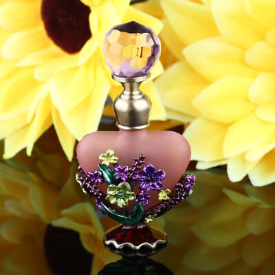 Pink Vintage Crystal Heart Shape Metal Empty Perfume Bottle Wedding Decor Gift
