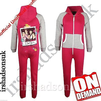"Kids Girls One direction ""I LOVE YOU XX"" Print All In One PJ'S Jumpsuit"