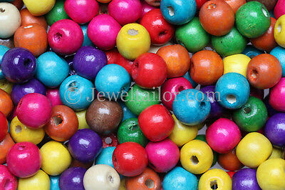 100-500 MIXED LARGE HOLE CHILDRENS COLOURED WOODEN BEADS 14mm KIDS CRAFTS UK