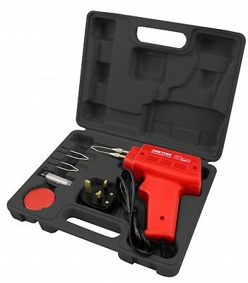Heavy Duty 150W Soldering Gun Iron & 3 Tips In Storage Case Hobby Crafts Solder