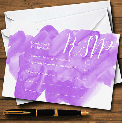 Purple Watercolour Personalised RSVP Cards