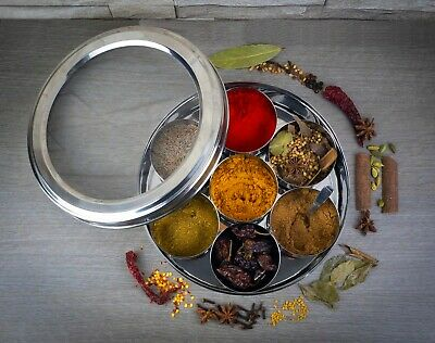 Authentic Indian Spice Tin / Masala Dabba - FREE Spoon With See Through Lid