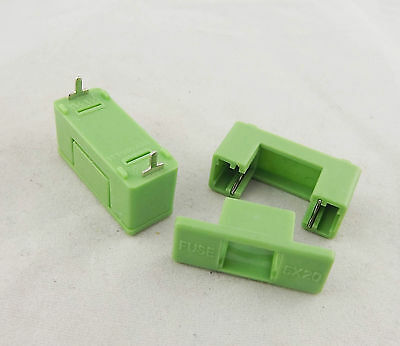50pcs DIP PTF-7 6.3A 1.6W 250V Fuse Holder Used for 5 x 20mm Green Color