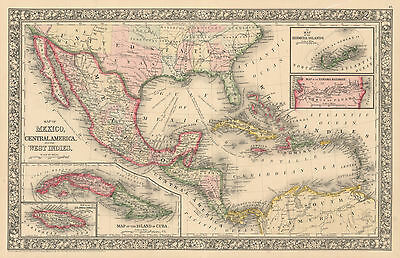 HJB-AntiqueMaps : 1860 Map of Central America and the Caribbean by Mitchell