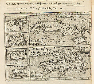 HJB-AntiqueMaps : 1625 Map of Caribbean Islands by Hondius