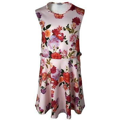 Girls Skater Dress Kids Floral Aztec Animal Neon Summer Party Dresses 7-13 Years