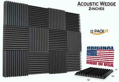 "12 Pack Acoustic Wedge Studio Soundproofing Foam Wall Tiles 12"" X 12"" X 2"" USA"