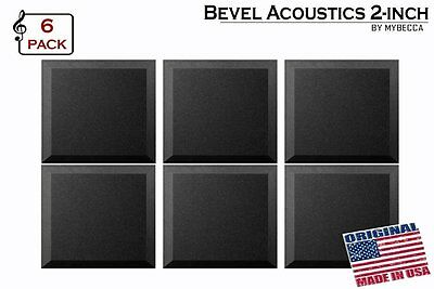 "[6 PACK] Soundproofing Acoustic BEVEL Foam Tiles Wall Panels 12"" X 12"" X 2"