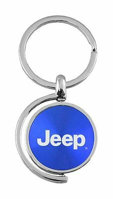 Jeep Logo Blue Brushed Metal Spinner Key Chain KC1025 Jee Blu by Au Tomative Gol