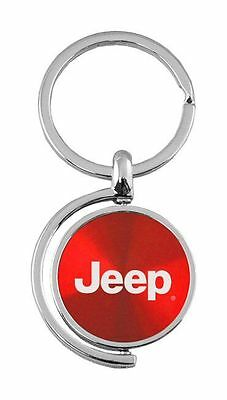 Jeep Logo Red Brushed Metal Spinner Key Chain KC1025 Jee Red by Au Tomative Gold